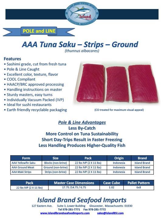 Island Brand Seafood - AAA Tuna Saku - Strips - Ground - Otoro